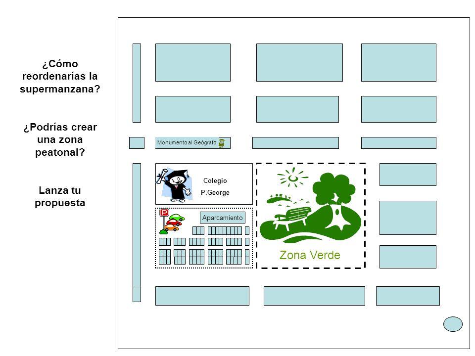 Colegio P.George Aparcamiento Zona Verde Monumento al Geógrafo ¿Cómo reordenarías la supermanzana.