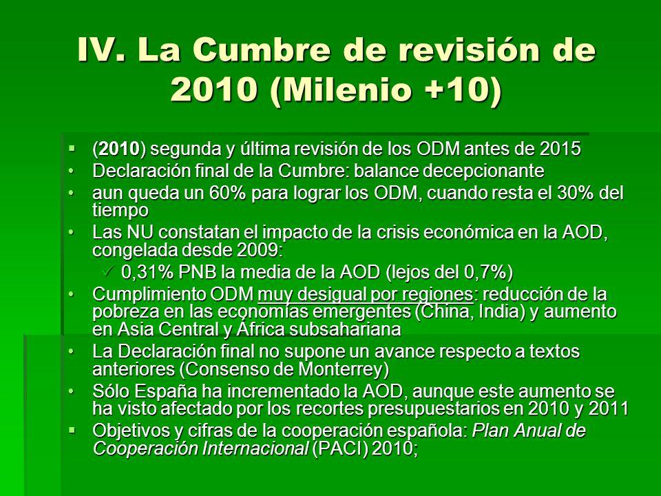 IV. La Cumbre de revisión de 2010 (Milenio +10) (2010) segunda y última revisión de los ODM antes de 2015 (2010) segunda y última revisión de los ODM
