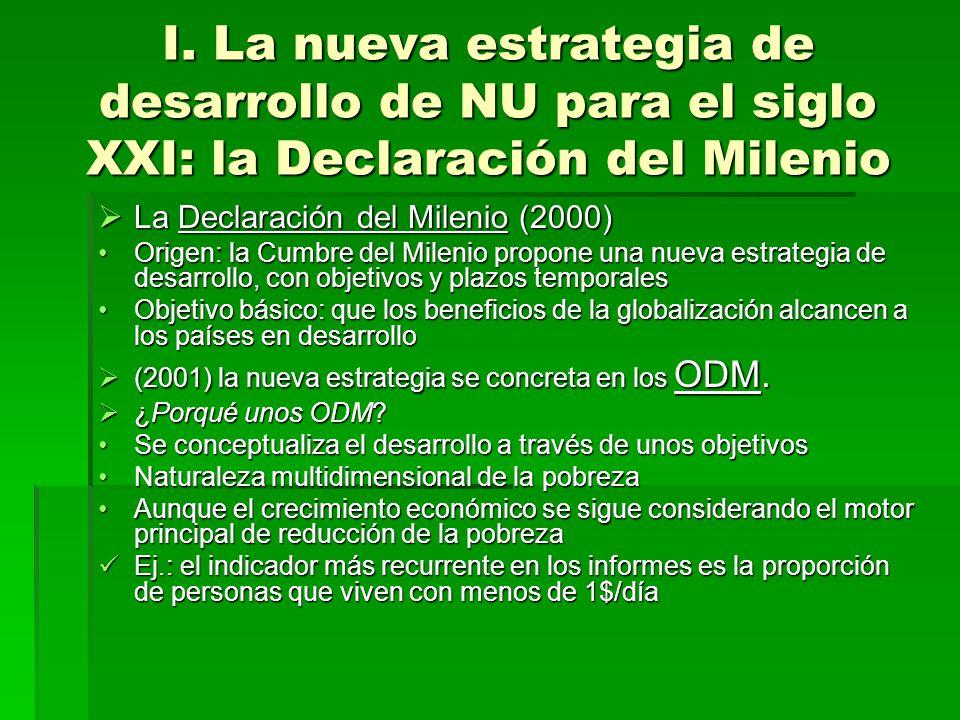 I. La nueva estrategia de desarrollo de NU para el siglo XXI: la Declaración del Milenio La Declaración del Milenio (2000) La Declaración del Milenio