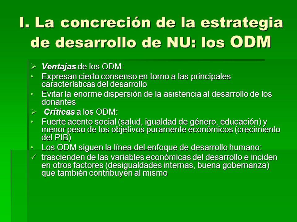 I. La concreción de la estrategia de desarrollo de NU: los ODM Ventajas de los ODM: Ventajas de los ODM: Expresan cierto consenso en torno a las princ