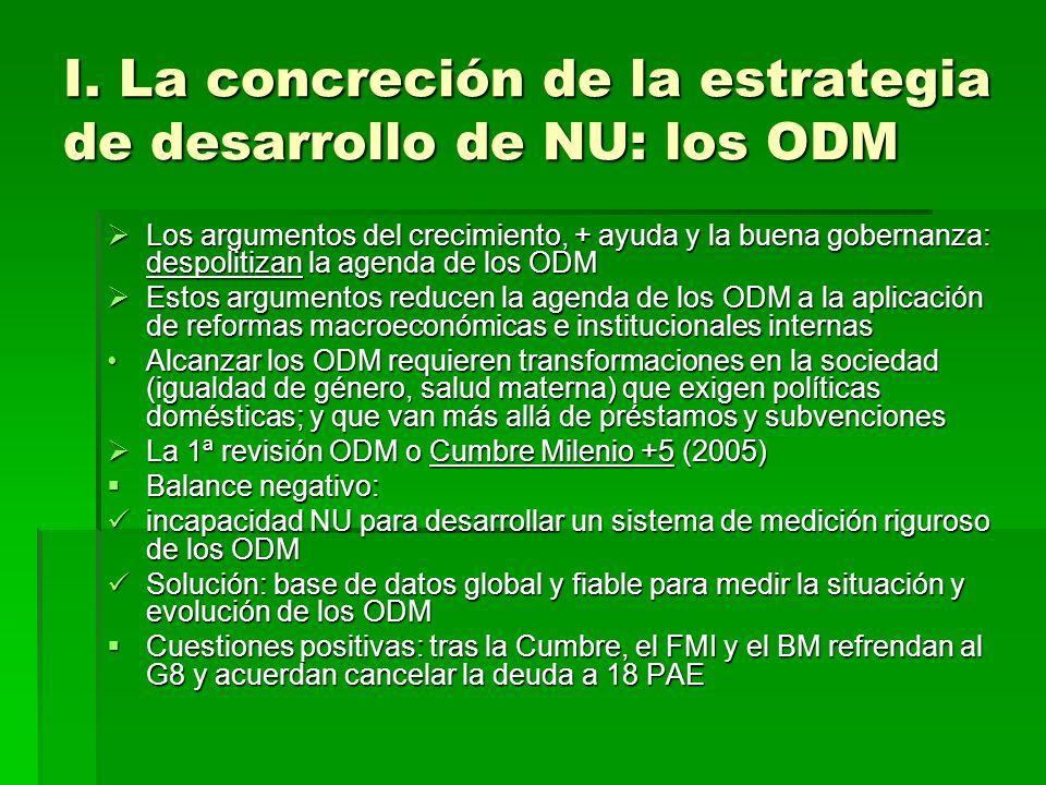 I. La concreción de la estrategia de desarrollo de NU: los ODM Los argumentos del crecimiento, + ayuda y la buena gobernanza: despolitizan la agenda d