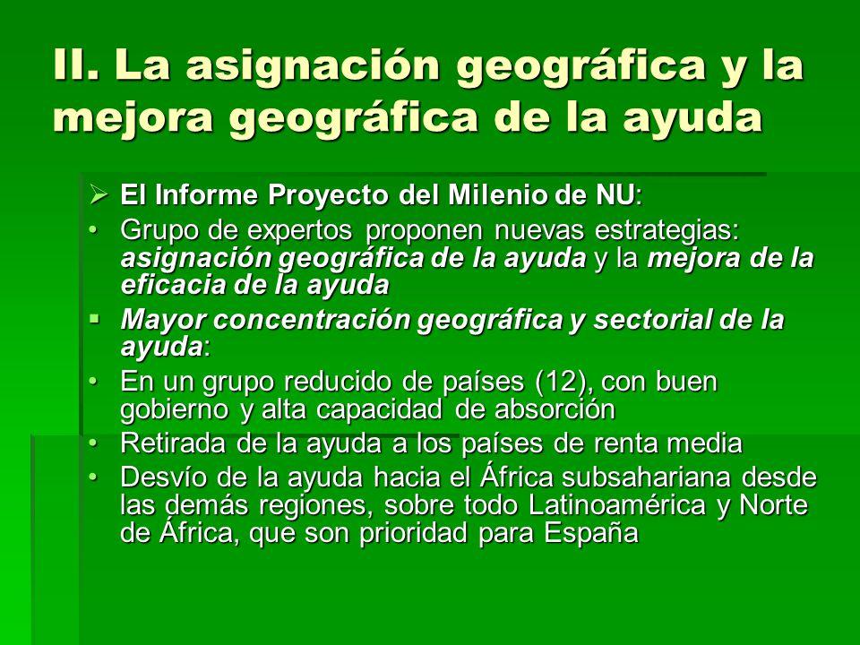 II. La asignación geográfica y la mejora geográfica de la ayuda El Informe Proyecto del Milenio de NU: El Informe Proyecto del Milenio de NU: Grupo de