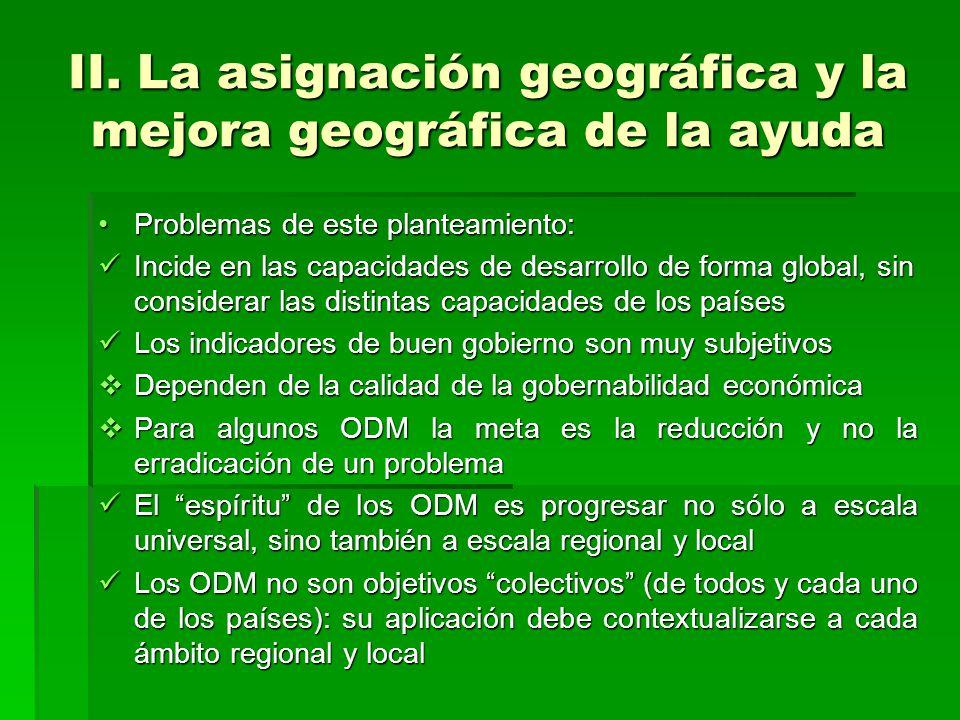 II. La asignación geográfica y la mejora geográfica de la ayuda Problemas de este planteamiento:Problemas de este planteamiento: Incide en las capacid