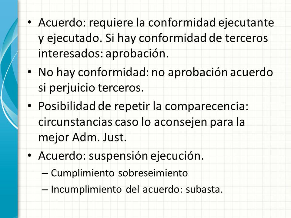 Acuerdo: requiere la conformidad ejecutante y ejecutado. Si hay conformidad de terceros interesados: aprobación. No hay conformidad: no aprobación acu