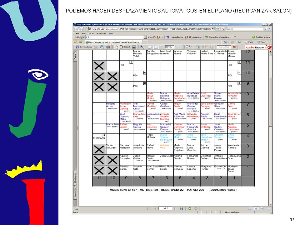 17 PODEMOS HACER DESPLAZAMIENTOS AUTOMATICOS EN EL PLANO (REORGANIZAR SALON)