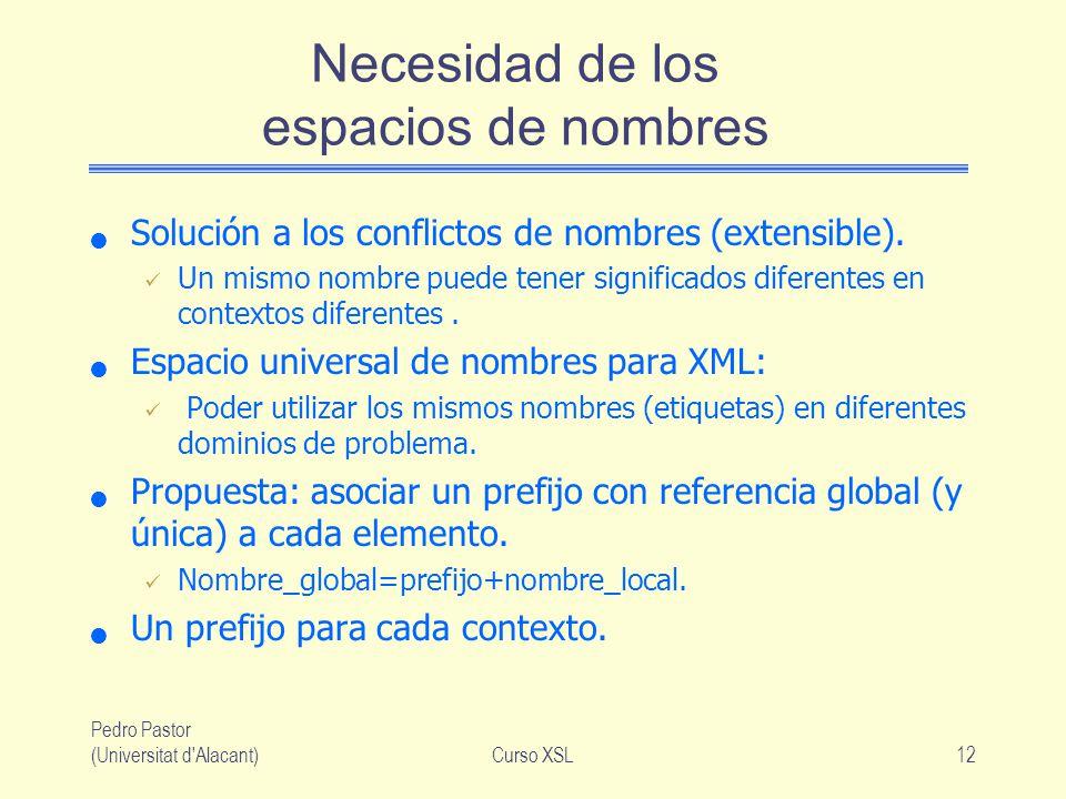 Pedro Pastor (Universitat d'Alacant)Curso XSL12 Necesidad de los espacios de nombres Solución a los conflictos de nombres (extensible). Un mismo nombr