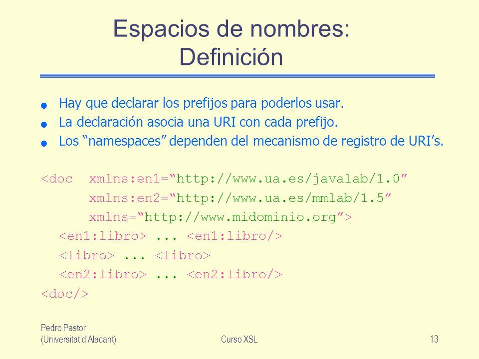 Pedro Pastor (Universitat d'Alacant)Curso XSL13 Espacios de nombres: Definición Hay que declarar los prefijos para poderlos usar. La declaración asoci