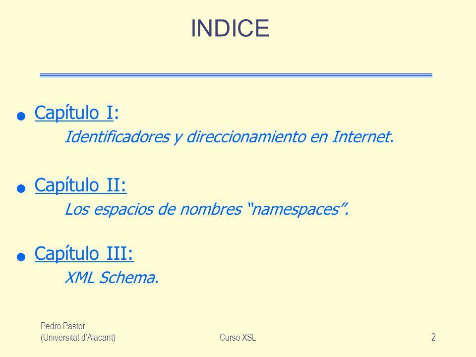 Pedro Pastor (Universitat d'Alacant)Curso XSL2 INDICE Capítulo I: Identificadores y direccionamiento en Internet. Capítulo II: Los espacios de nombres