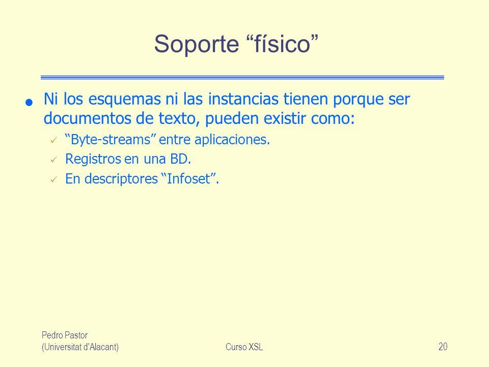 Pedro Pastor (Universitat d'Alacant)Curso XSL20 Soporte físico Ni los esquemas ni las instancias tienen porque ser documentos de texto, pueden existir