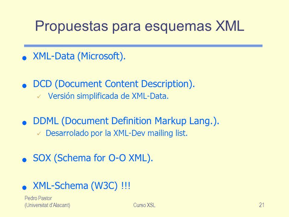 Pedro Pastor (Universitat d'Alacant)Curso XSL21 Propuestas para esquemas XML XML-Data (Microsoft). DCD (Document Content Description). Versión simplif