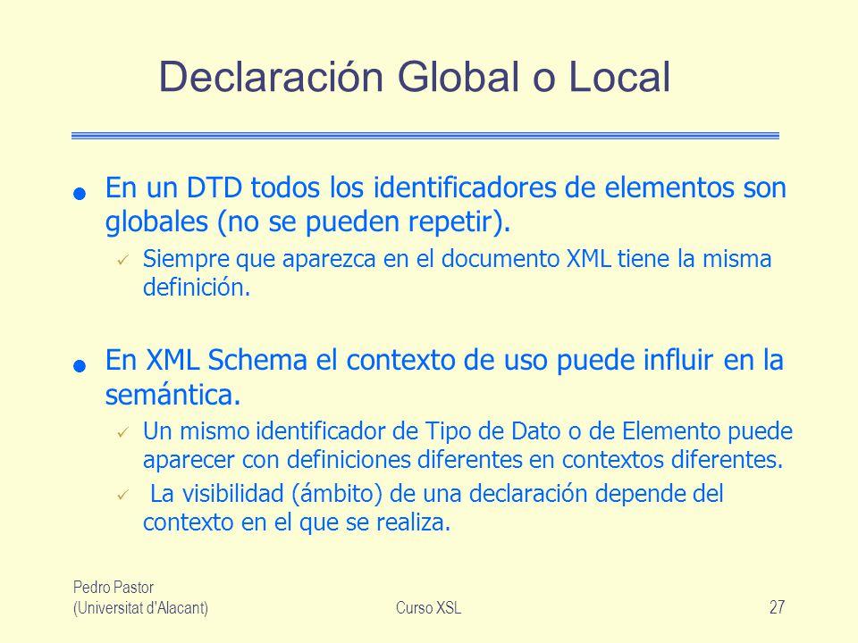 Pedro Pastor (Universitat d'Alacant)Curso XSL27 Declaración Global o Local En un DTD todos los identificadores de elementos son globales (no se pueden