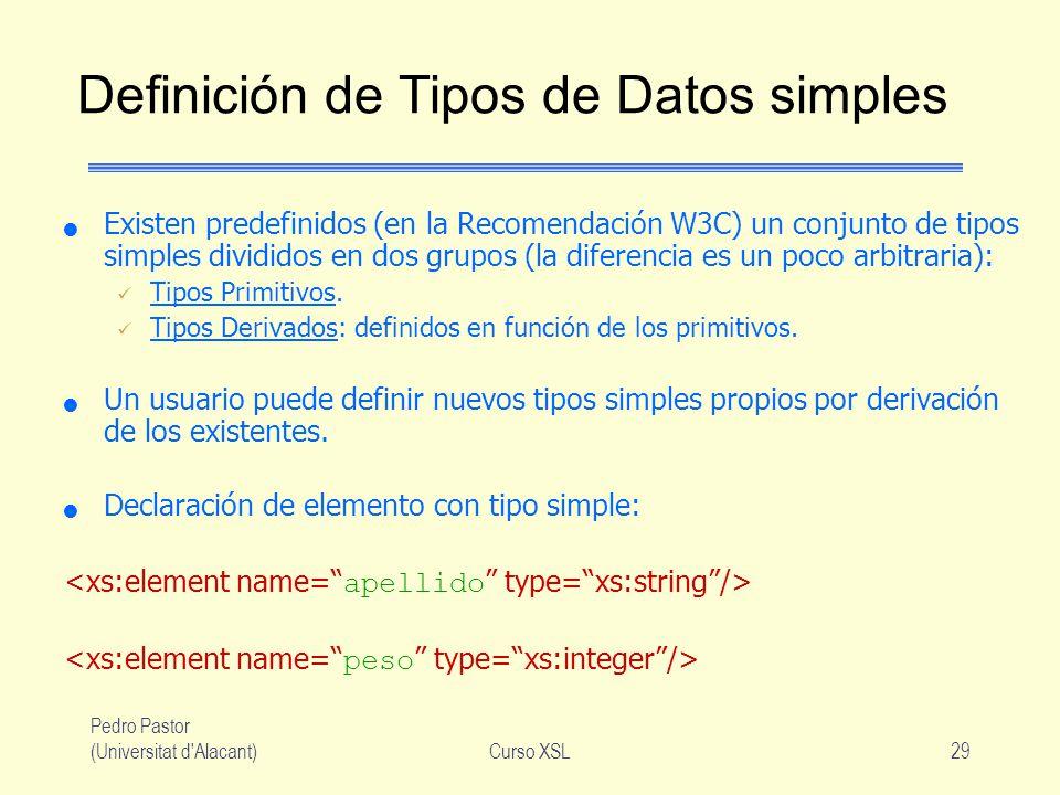 Pedro Pastor (Universitat d'Alacant)Curso XSL29 Definición de Tipos de Datos simples Existen predefinidos (en la Recomendación W3C) un conjunto de tip