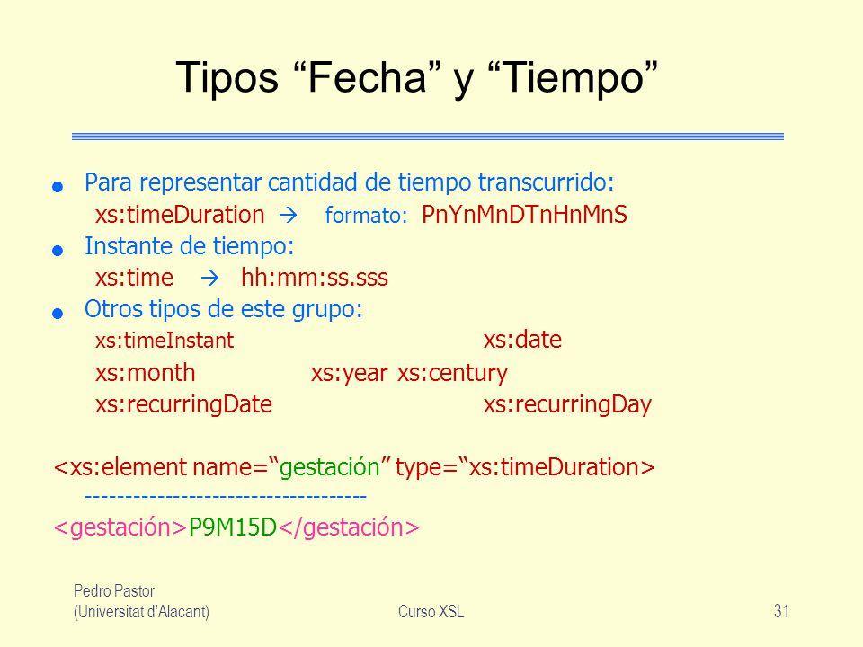 Pedro Pastor (Universitat d'Alacant)Curso XSL31 Tipos Fecha y Tiempo Para representar cantidad de tiempo transcurrido: xs:timeDuration formato: PnYnMn