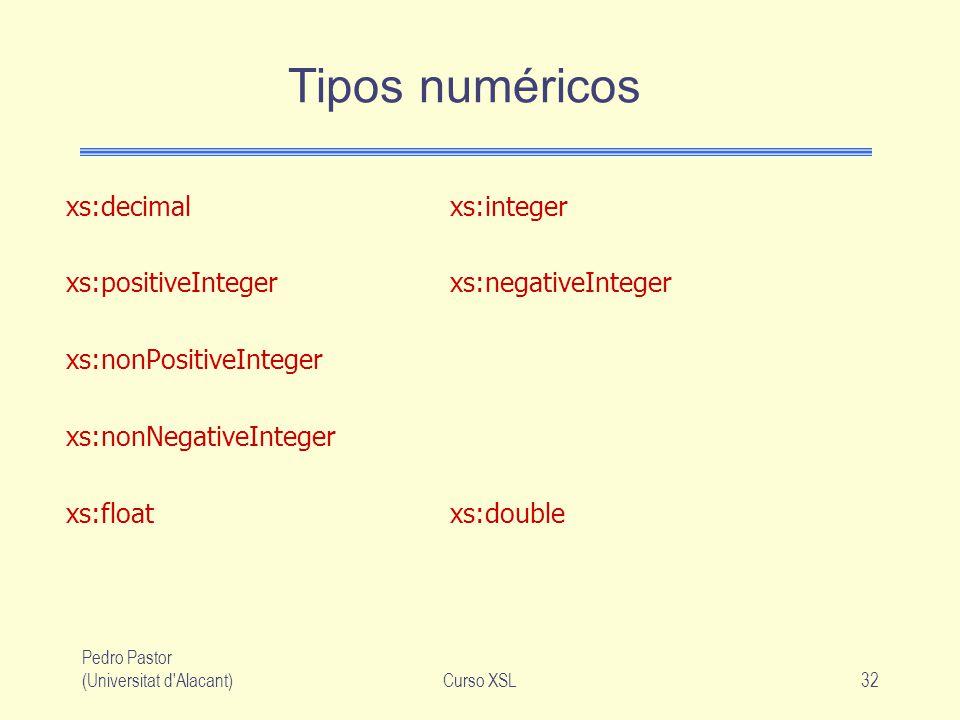 Pedro Pastor (Universitat d'Alacant)Curso XSL32 Tipos numéricos xs:decimalxs:integer xs:positiveIntegerxs:negativeInteger xs:nonPositiveInteger xs:non