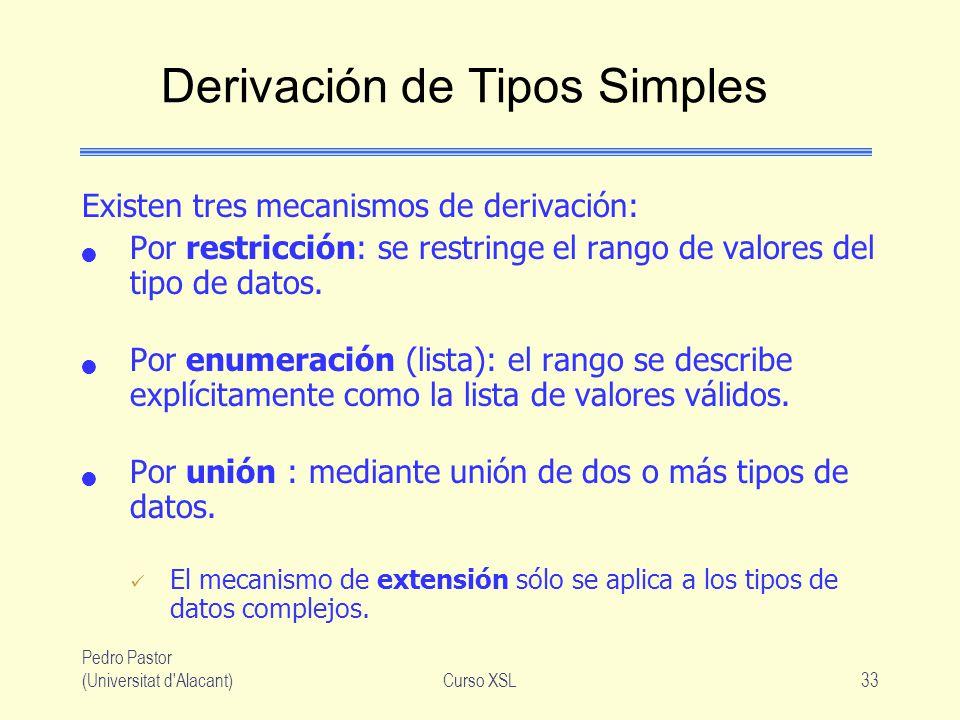 Pedro Pastor (Universitat d'Alacant)Curso XSL33 Derivación de Tipos Simples Existen tres mecanismos de derivación: Por restricción: se restringe el ra