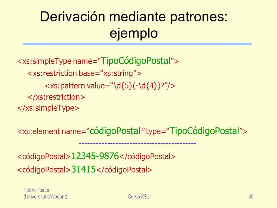 Pedro Pastor (Universitat d'Alacant)Curso XSL35 Derivación mediante patrones: ejemplo ------------------------------------------ 12345-9876 31415