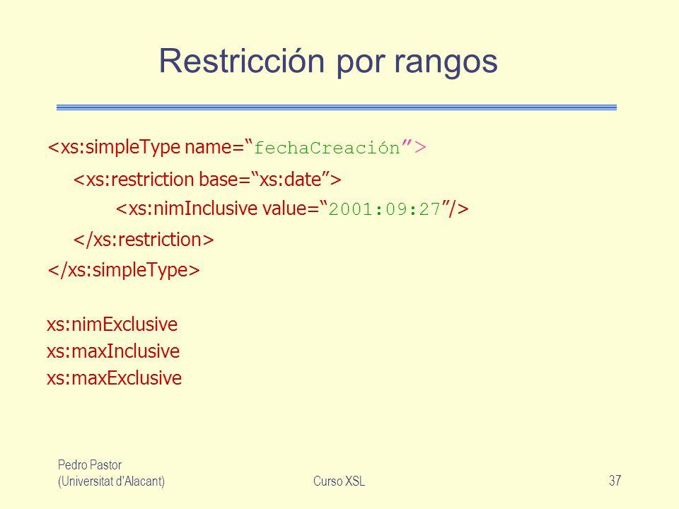 Pedro Pastor (Universitat d'Alacant)Curso XSL37 Restricción por rangos xs:nimExclusive xs:maxInclusive xs:maxExclusive
