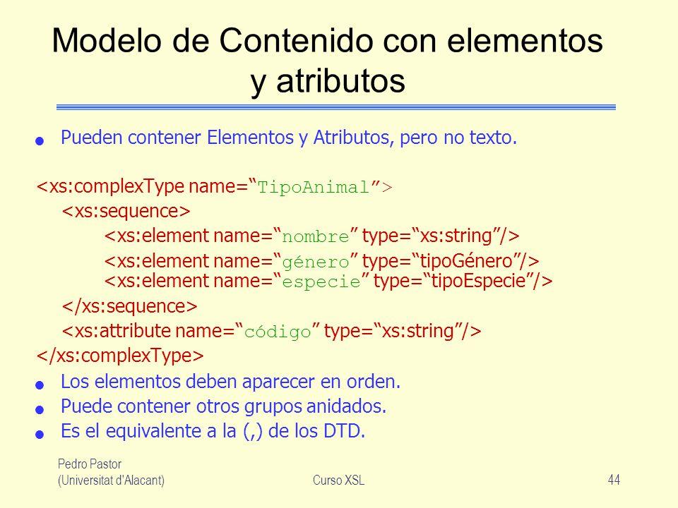 Pedro Pastor (Universitat d'Alacant)Curso XSL44 Modelo de Contenido con elementos y atributos Pueden contener Elementos y Atributos, pero no texto. Lo
