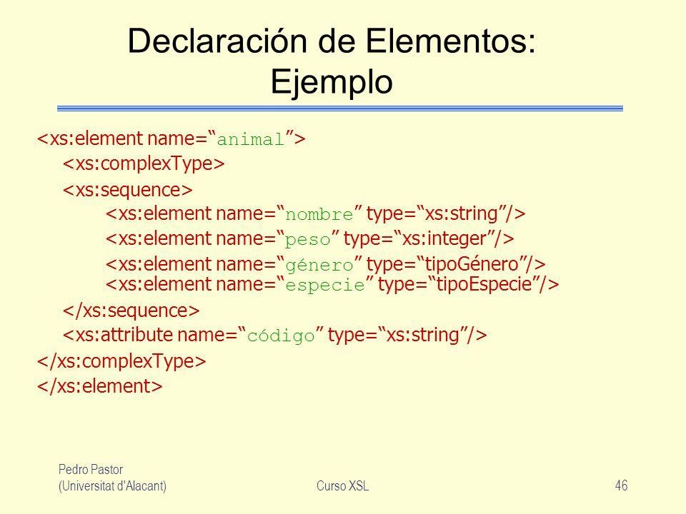 Pedro Pastor (Universitat d'Alacant)Curso XSL46 Declaración de Elementos: Ejemplo