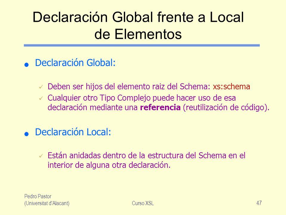 Pedro Pastor (Universitat d'Alacant)Curso XSL47 Declaración Global frente a Local de Elementos Declaración Global: Deben ser hijos del elemento raiz d