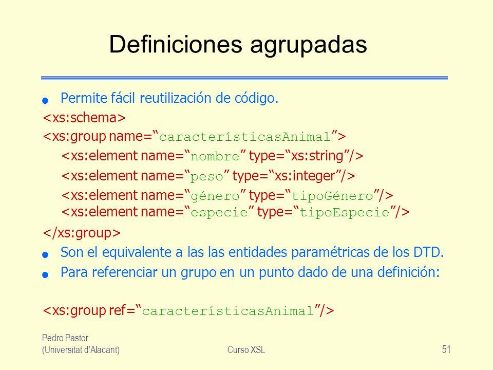 Pedro Pastor (Universitat d'Alacant)Curso XSL51 Definiciones agrupadas Permite fácil reutilización de código. Son el equivalente a las las entidades p