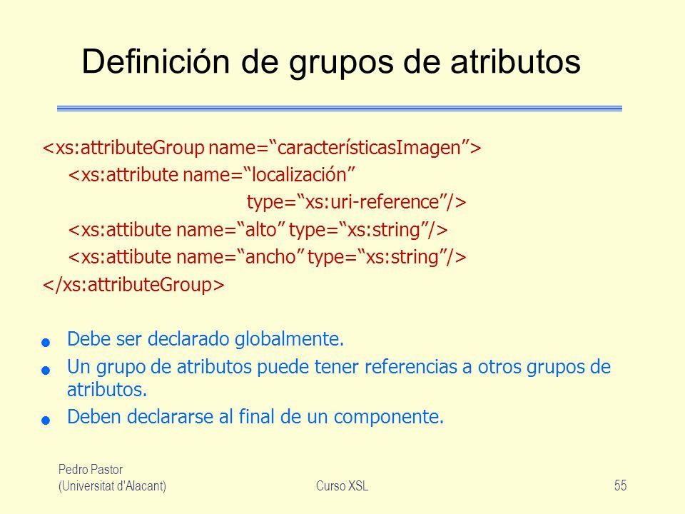 Pedro Pastor (Universitat d'Alacant)Curso XSL55 Definición de grupos de atributos <xs:attribute name=localización type=xs:uri-reference/> Debe ser dec