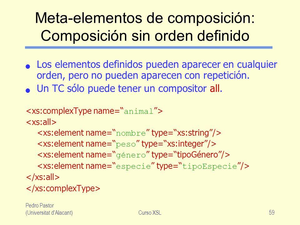 Pedro Pastor (Universitat d'Alacant)Curso XSL59 Meta-elementos de composición: Composición sin orden definido Los elementos definidos pueden aparecer