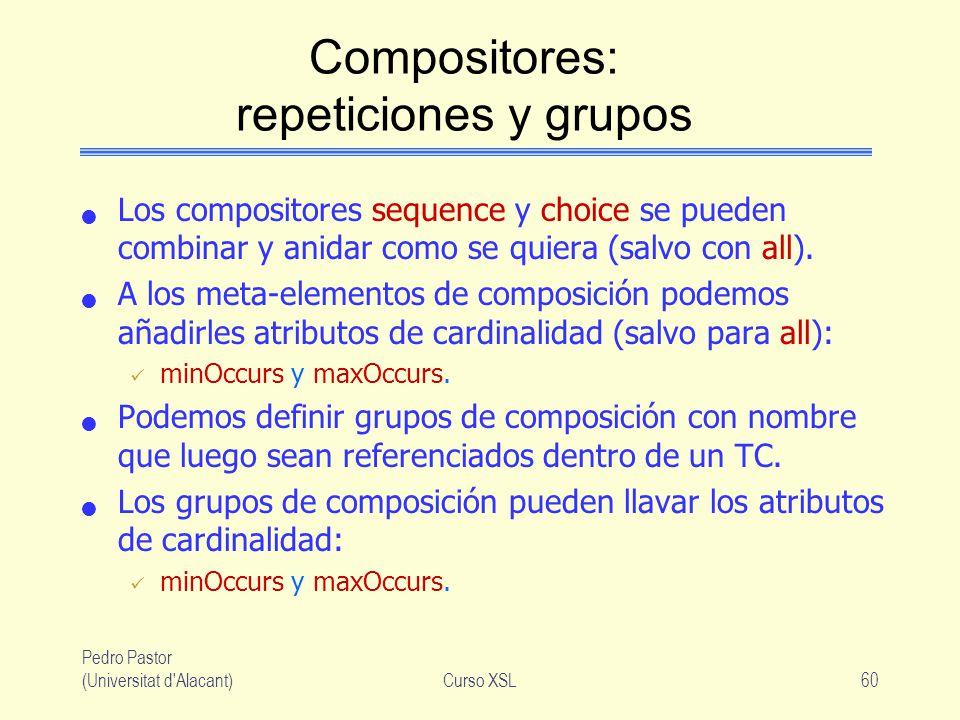 Pedro Pastor (Universitat d'Alacant)Curso XSL60 Compositores: repeticiones y grupos Los compositores sequence y choice se pueden combinar y anidar com