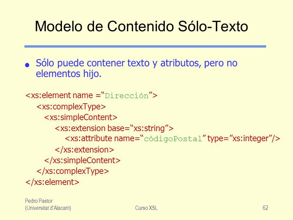 Pedro Pastor (Universitat d'Alacant)Curso XSL62 Modelo de Contenido Sólo-Texto Sólo puede contener texto y atributos, pero no elementos hijo.