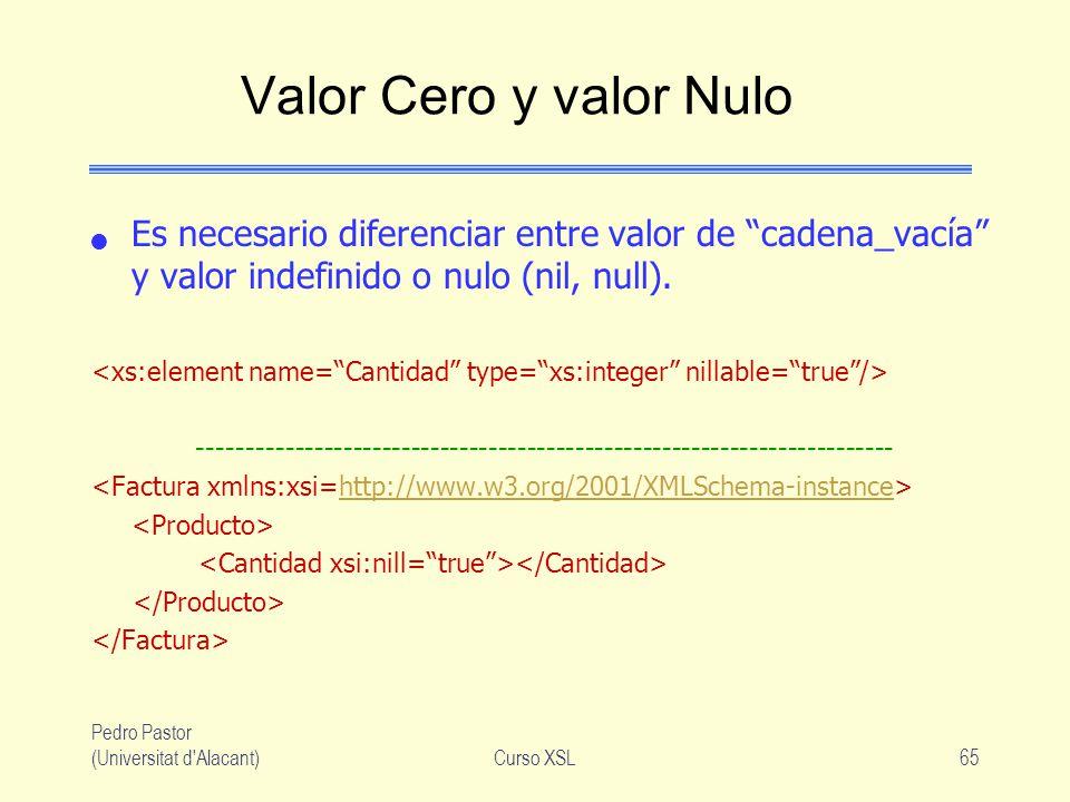 Pedro Pastor (Universitat d'Alacant)Curso XSL65 Valor Cero y valor Nulo Es necesario diferenciar entre valor de cadena_vacía y valor indefinido o nulo