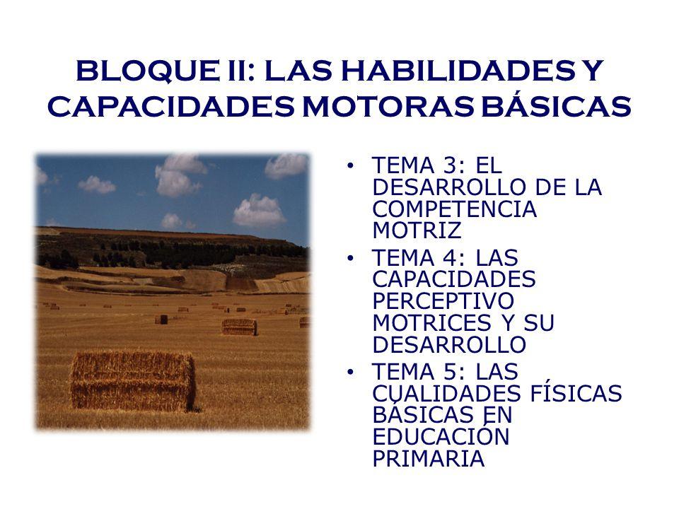 BLOQUE II: LAS HABILIDADES Y CAPACIDADES MOTORAS BÁSICAS TEMA 3: EL DESARROLLO DE LA COMPETENCIA MOTRIZ TEMA 4: LAS CAPACIDADES PERCEPTIVO MOTRICES Y