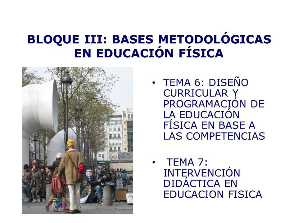 BLOQUE III: BASES METODOLÓGICAS EN EDUCACIÓN FÍSICA TEMA 6: DISEÑO CURRICULAR Y PROGRAMACIÓN DE LA EDUCACIÓN FÍSICA EN BASE A LAS COMPETENCIAS TEMA 7: