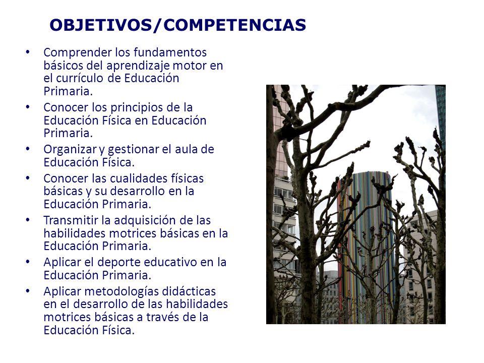 OBJETIVOS/COMPETENCIAS Comprender los fundamentos básicos del aprendizaje motor en el currículo de Educación Primaria. Conocer los principios de la Ed
