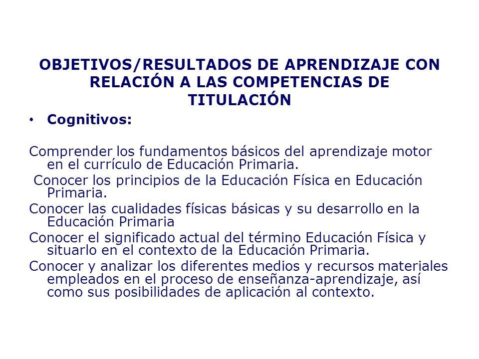 OBJETIVOS/RESULTADOS DE APRENDIZAJE CON RELACIÓN A LAS COMPETENCIAS DE TITULACIÓN Cognitivos: Comprender los fundamentos básicos del aprendizaje motor