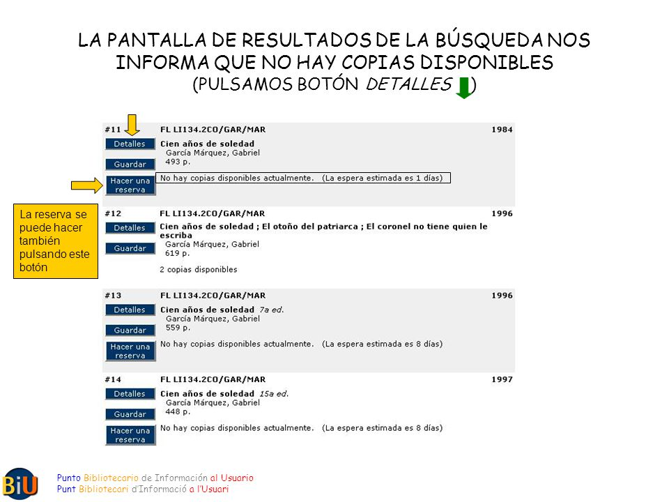 LA PANTALLA DE RESULTADOS DE LA BÚSQUEDA NOS INFORMA QUE NO HAY COPIAS DISPONIBLES (PULSAMOS BOTÓN DETALLES ) Punto Bibliotecario de Información al Usuario Punt Bibliotecari dInformació a lUsuari La reserva se puede hacer también pulsando este botón