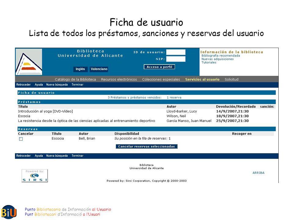 Ficha de usuario Lista de todos los préstamos, sanciones y reservas del usuario Punto Bibliotecario de Información al Usuario Punt Bibliotecari dInformació a lUsuari