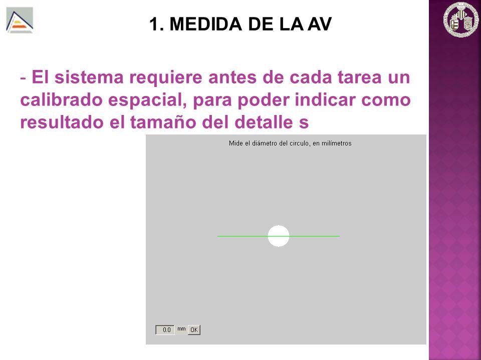 1. MEDIDA DE LA AV - Tarea de detección: se realiza para dos valores de contraste (C=0.2 y C=1)