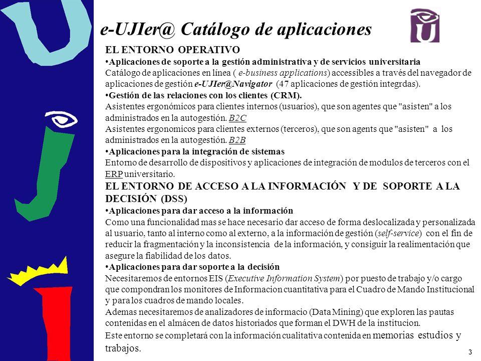 3 e-UJIer@ Catálogo de aplicaciones EL ENTORNO OPERATIVO Aplicaciones de soporte a la gestión administrativa y de servicios universitaria Catálogo de