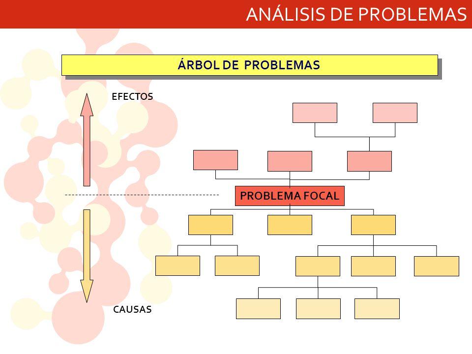 ANÁLISIS DE PROBLEMAS ÁRBOL DE PROBLEMAS PROBLEMA FOCAL EFECTOS CAUSAS