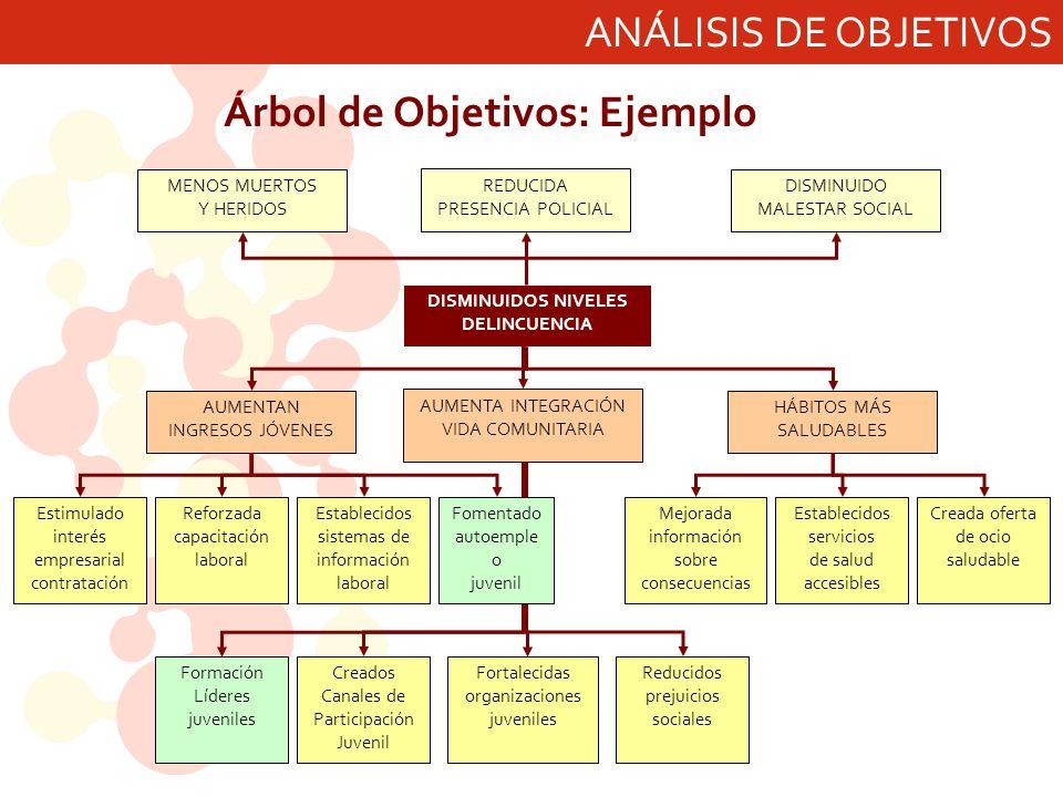 ANÁLISIS DE OBJETIVOS Árbol de Objetivos: Ejemplo DISMINUIDOS NIVELES DELINCUENCIA AUMENTAN INGRESOS JÓVENES AUMENTA INTEGRACIÓN VIDA COMUNITARIA HÁBI