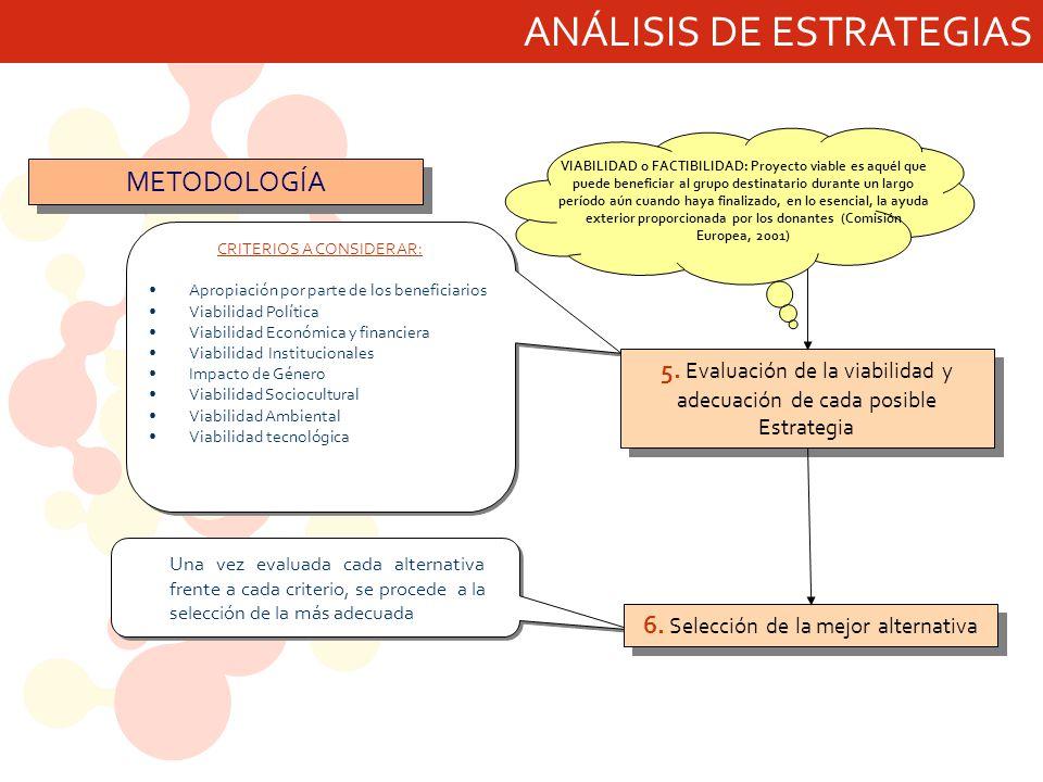 ANÁLISIS DE ESTRATEGIAS CRITERIOS A CONSIDERAR: Apropiación por parte de los beneficiarios Viabilidad Política Viabilidad Económica y financiera Viabi