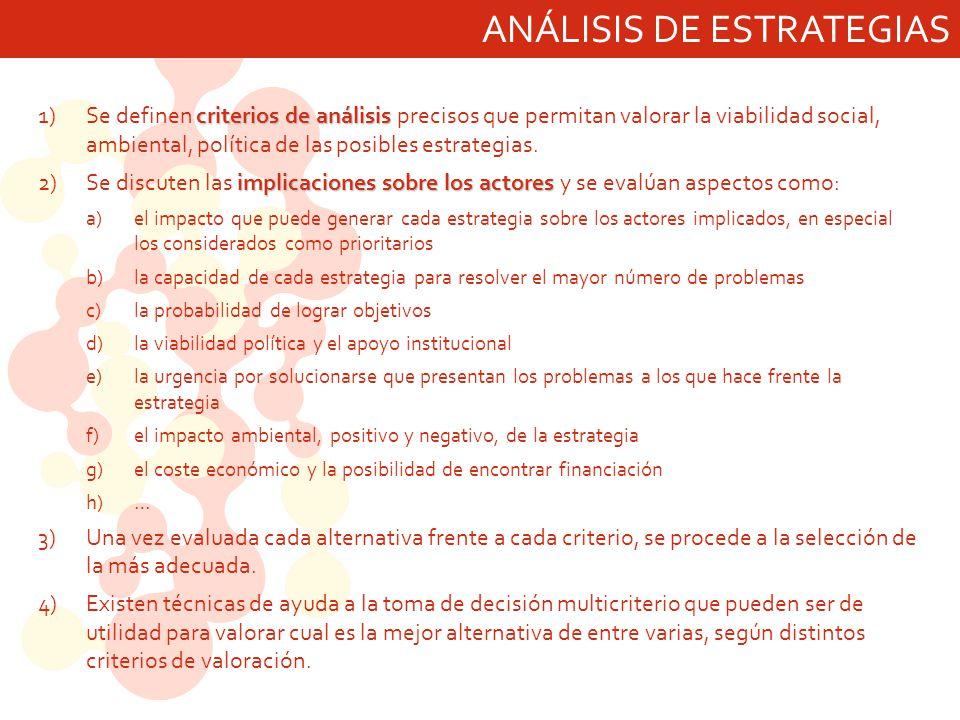 ANÁLISIS DE ESTRATEGIAS criterios de análisis 1)Se definen criterios de análisis precisos que permitan valorar la viabilidad social, ambiental, políti