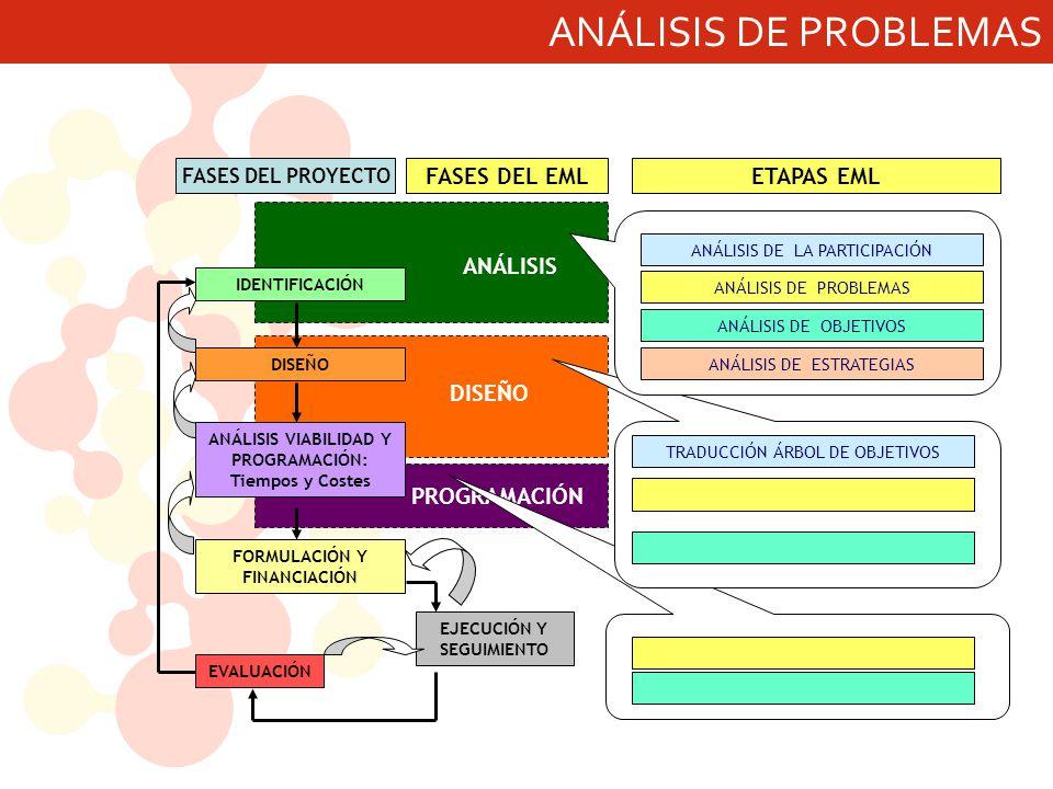 ANÁLISIS DE PROBLEMAS ANÁLISIS DISEÑO PROGRAMACIÓN FASES DEL EML EJECUCIÓN Y SEGUIMIENTO IDENTIFICACIÓN DISEÑO ANÁLISIS VIABILIDAD Y PROGRAMACIÓN: Tiempos y Costes EVALUACIÓN FORMULACIÓN Y FINANCIACIÓN FASES DEL PROYECTO ANÁLISIS DE LA PARTICIPACIÓN ANÁLISIS DE PROBLEMAS ANÁLISIS DE OBJETIVOS ANÁLISIS DE ESTRATEGIAS TRADUCCIÓN ÁRBOL DE OBJETIVOS ETAPAS EML