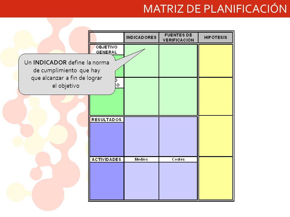 MATRIZ DE PLANIFICACIÓN Un INDICADOR define la norma de cumplimiento que hay que alcanzar a fin de lograr el objetivo