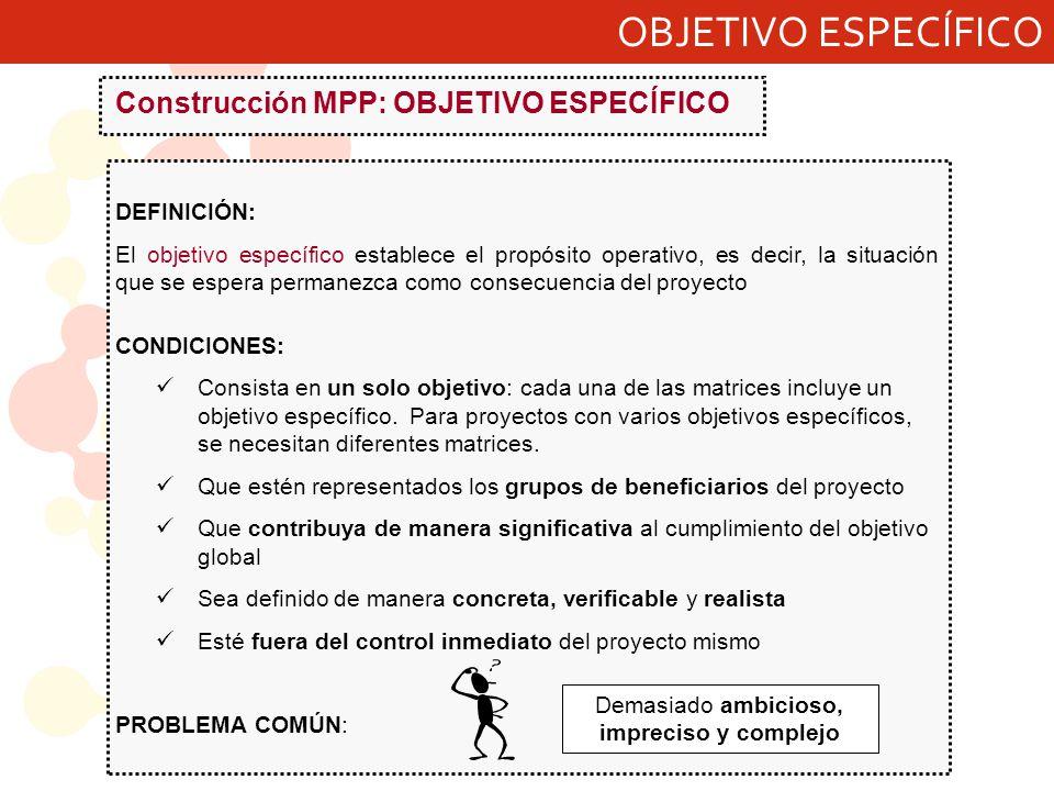 OBJETIVO ESPECÍFICO Construcción MPP: OBJETIVO ESPECÍFICO DEFINICIÓN: El objetivo específico establece el propósito operativo, es decir, la situación