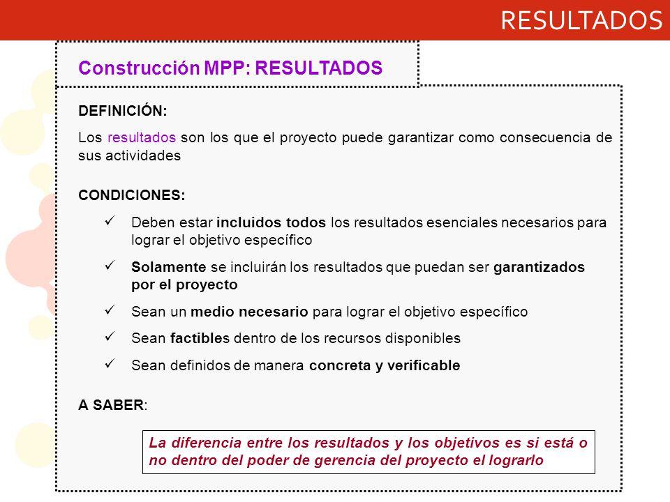 RESULTADOS Construcción MPP: RESULTADOS DEFINICIÓN: Los resultados son los que el proyecto puede garantizar como consecuencia de sus actividades CONDI