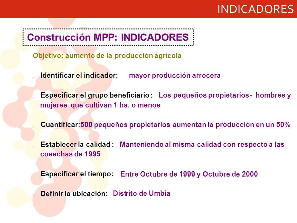 Construcción MPP: INDICADORES Objetivo: aumento de la producción agrícola · Identificar el indicador:mayor producción arrocera · Especificar el grupo beneficiario:Los pequeños propietarios- hombres y mujeres- que cultivan 1 ha.