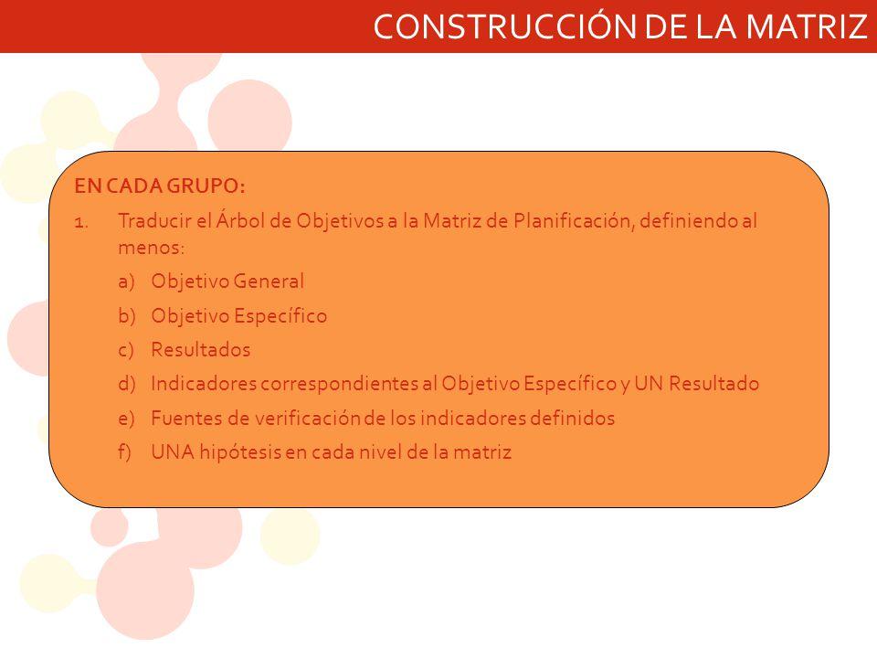 CONSTRUCCIÓN DE LA MATRIZ EN CADA GRUPO: 1.Traducir el Árbol de Objetivos a la Matriz de Planificación, definiendo al menos: a)Objetivo General b)Obje