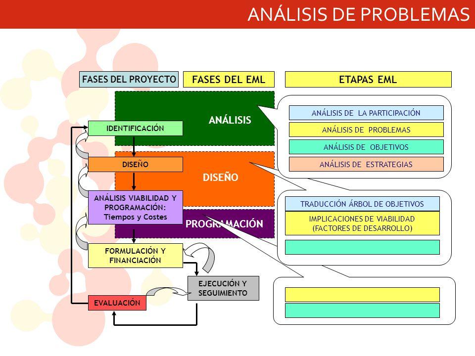 ANÁLISIS DE PROBLEMAS ANÁLISIS DISEÑO PROGRAMACIÓN FASES DEL EML EJECUCIÓN Y SEGUIMIENTO IDENTIFICACIÓN DISEÑO ANÁLISIS VIABILIDAD Y PROGRAMACIÓN: Tiempos y Costes EVALUACIÓN FORMULACIÓN Y FINANCIACIÓN FASES DEL PROYECTO ANÁLISIS DE LA PARTICIPACIÓN ANÁLISIS DE PROBLEMAS ANÁLISIS DE OBJETIVOS ANÁLISIS DE ESTRATEGIAS TRADUCCIÓN ÁRBOL DE OBJETIVOS IMPLICACIONES DE VIABILIDAD (FACTORES DE DESARROLLO) ETAPAS EML