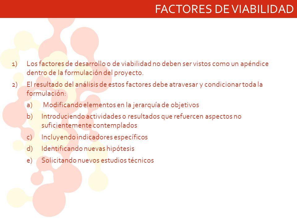 FACTORES DE VIABILIDAD 1)Los factores de desarrollo o de viabilidad no deben ser vistos como un apéndice dentro de la formulación del proyecto. 2)El r